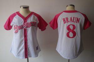 Womens 2017 MLB Milwaukee Brewers 8 Braun Pink Splash Fashion Jersey