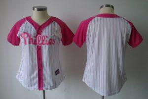 Womens 2017 MLB Philadelphia Phillies Blank White Pink Splash Fashion Jersey