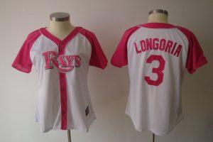 Womens 2017 MLB Tampa Bay Rays 3 Evan Longoria Pink Splash Fashion Jersey