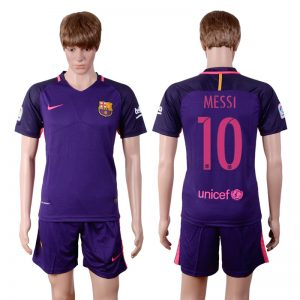 2016-2017 club Barcelona away 10 Purple Soccer Jersey