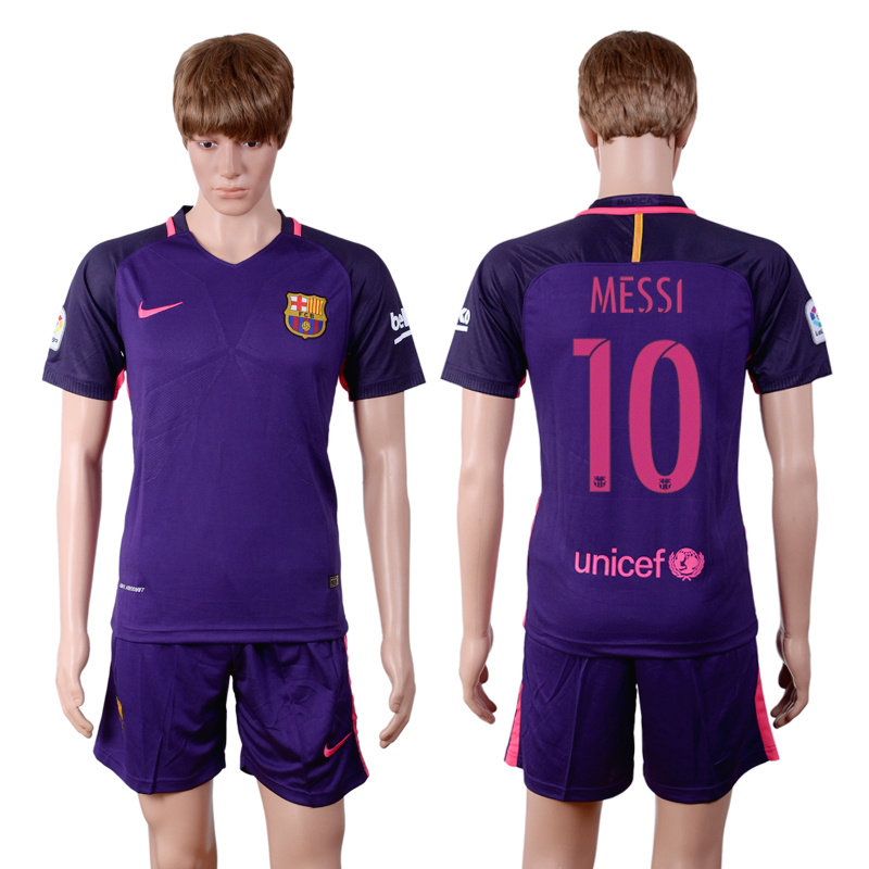 2016-2017 club Barcelona away 10 Purple Soccer Jersey