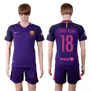 2016-2017 club Barcelona away 18 Purple Soccer Jersey