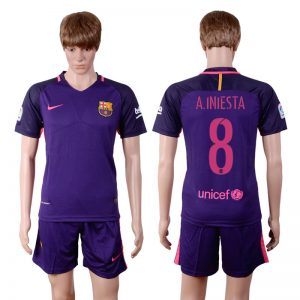 2016-2017 club Barcelona away 8 Purple Soccer Jersey