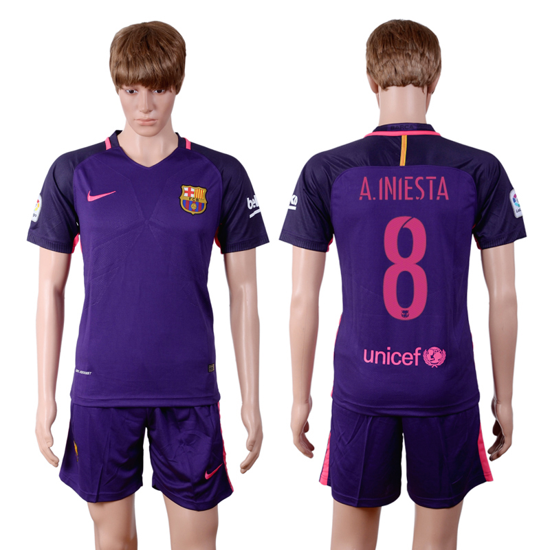 2016-2017 club Barcelona away 8 Purple Soccer Jersey