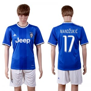 2016-2017 club Juventus away 17 Blue Soccer Jersey