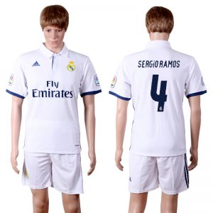 2016-2017 club Real Madrid home 4 White Soccer Jersey