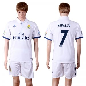 2016-2017 club Real Madrid home 7 White Soccer Jersey