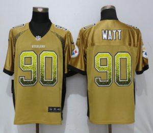 Men Pittsburgh Steelers 90 Watt Gold Drift Fashion Nike Elite NFL Jerseys