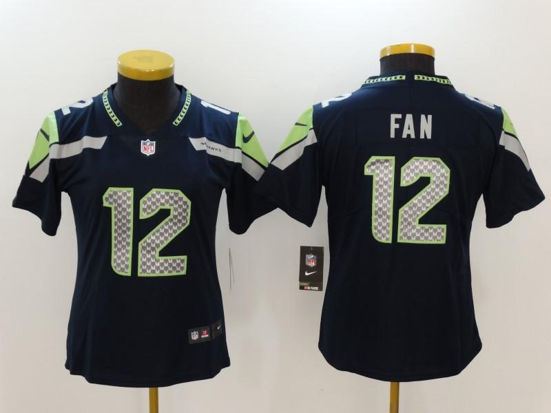 Women Seattle Seahawks 12 Fan Blue Nike Vapor Untouchable Limited NFL Jerseys