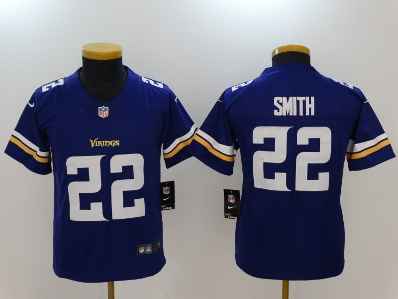 Youth Minnesota Vikings 22 Smith Purple Nike Vapor Untouchable Limited NFL Jerseys