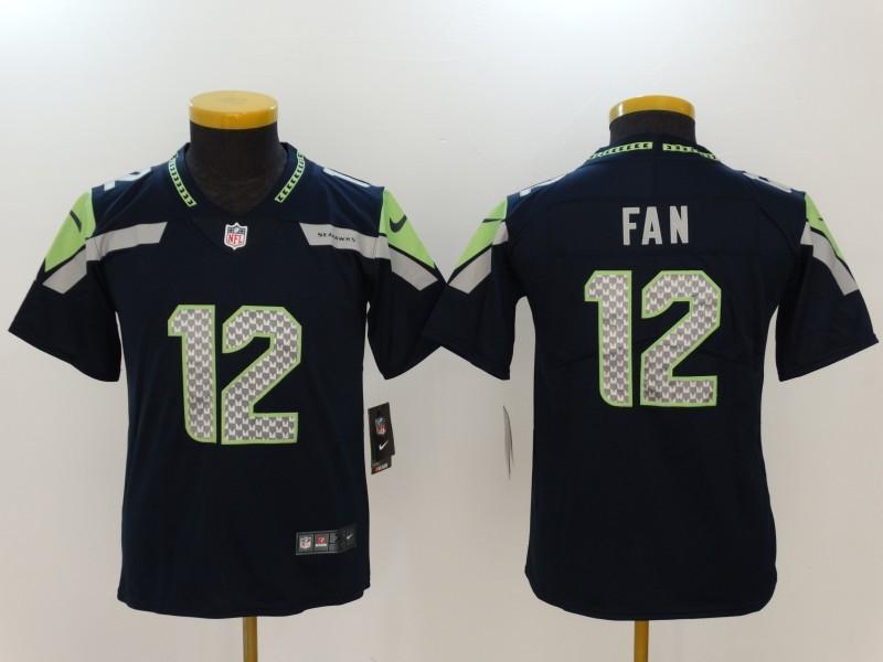Youth Seattle Seahawks 12 Fan Blue Nike Vapor Untouchable Limited NFL Jerseys